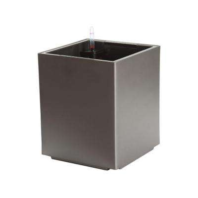 Modena 12 in. Cube Matte Granite Plastic Self Watering Planter