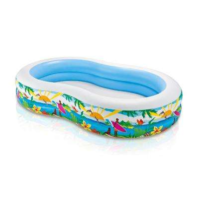 103 in. x 63 in. x 18 in. Deep Oval Paradise Seaside Kiddie Swimming Pool