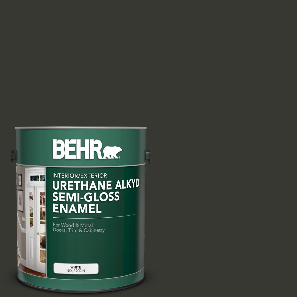 Reviews For Behr 1 Gal N520 7 Carbon Urethane Alkyd Semi Gloss Enamel Interior Exterior Paint 393001 The Home Depot