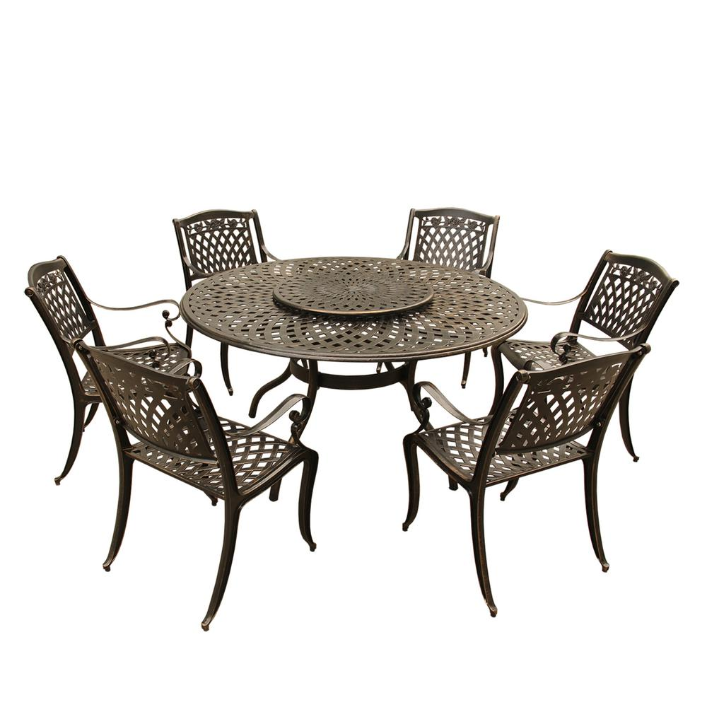 Rose Modern Ornate 7-Piece Bronze Aluminum Outdoor Dining Set with Lazy Susan