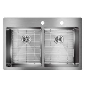 Elkay Crosstown Drop-In/Undermount Stainless Steel 33 inch Double Bowl Kitchen Sink with Bottom Grids by Elkay