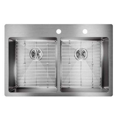 Crosstown Drop-In/Undermount Stainless Steel 33 in. 2-Hole Double Bowl Kitchen Sink with Bottom Grids