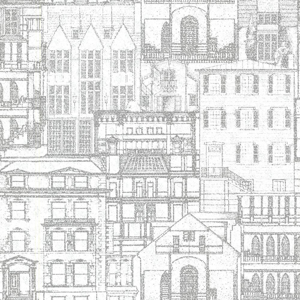 Marvelous Beacon House 56.4 Sq. Ft. Facade Light Grey Vintage Blueprint Wallpaper