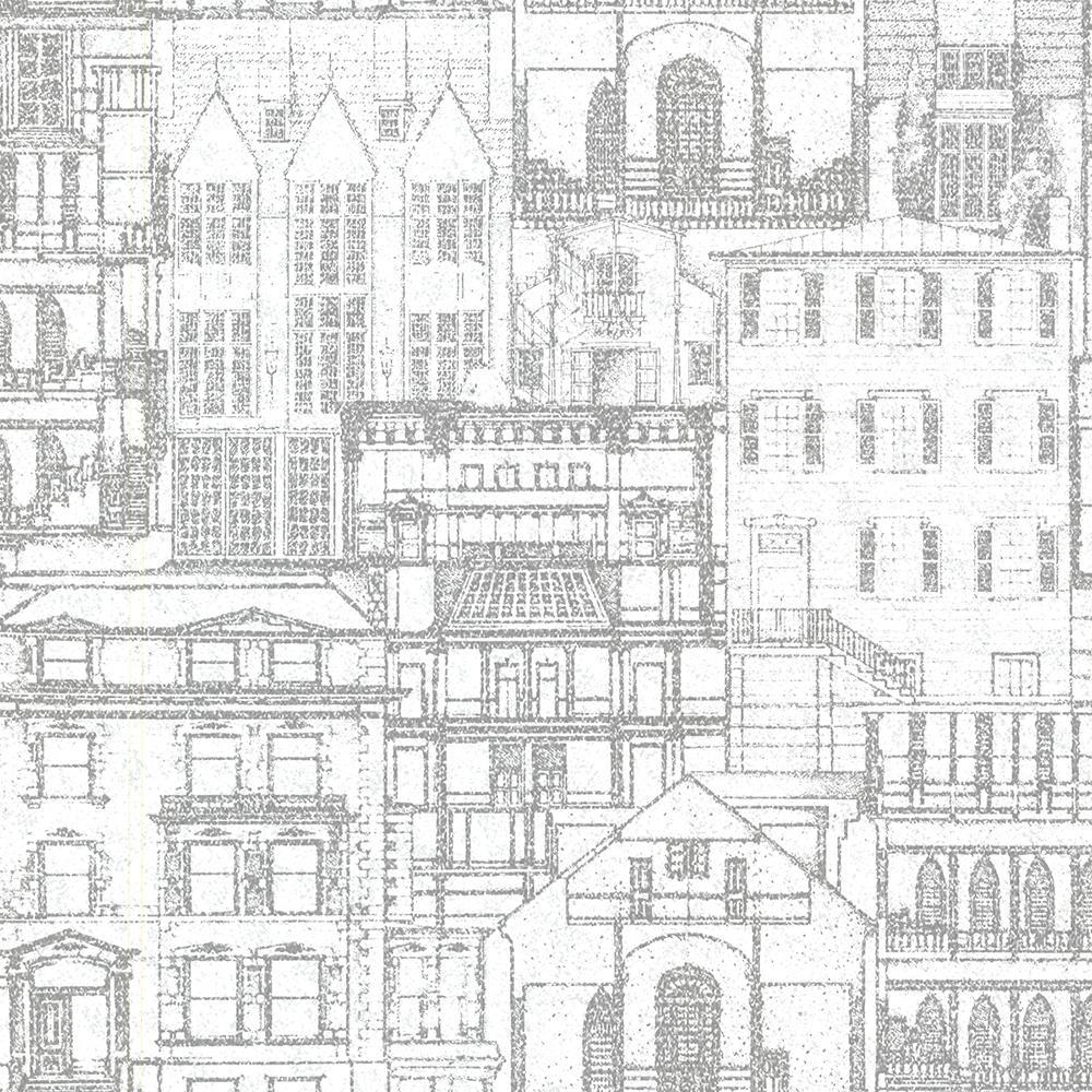 56.4 sq. ft. Facade Light Grey Vintage Blueprint Wallpaper
