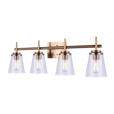 Perla 32.25 in. 4-Light Gold Vanity Light with Clear Glass Shade