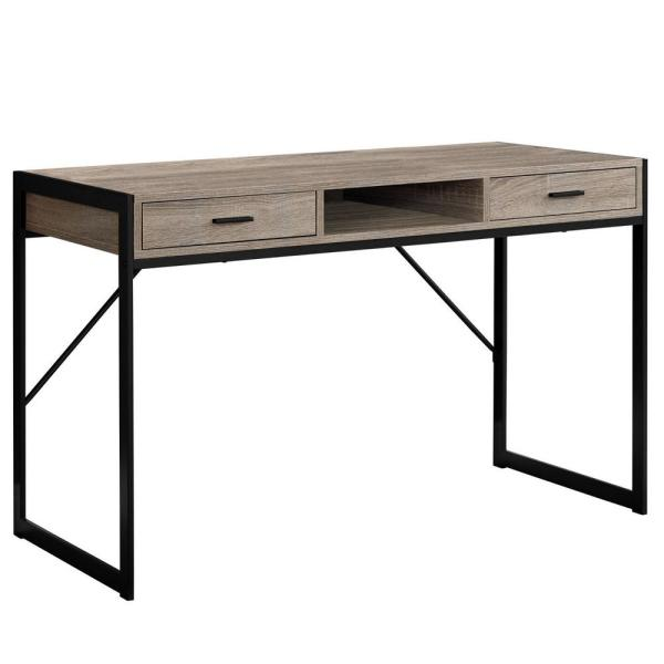 Jasmine 1-Piece Dark Taupe and Black Computer Desk