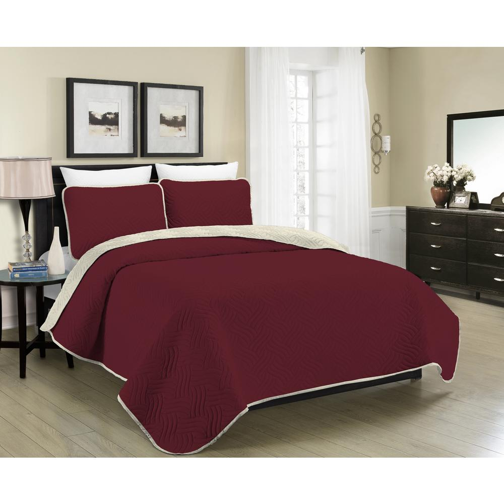 Reversible Austin 2-Piece Burgundy and Cream Twin Quilt Set