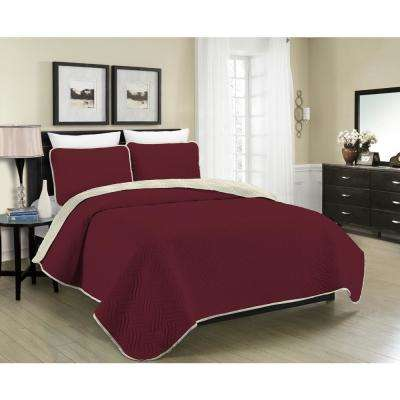 Reversible Austin 3-Piece Burgundy and Cream Full and Queen Quilt Set