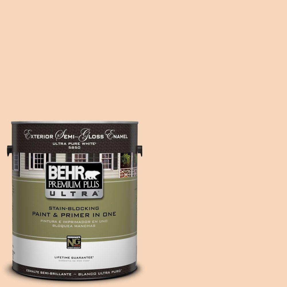 BEHR Premium Plus Ultra 1-gal. #UL120-12 Porcelain Peach Semi-Gloss Enamel Exterior Paint