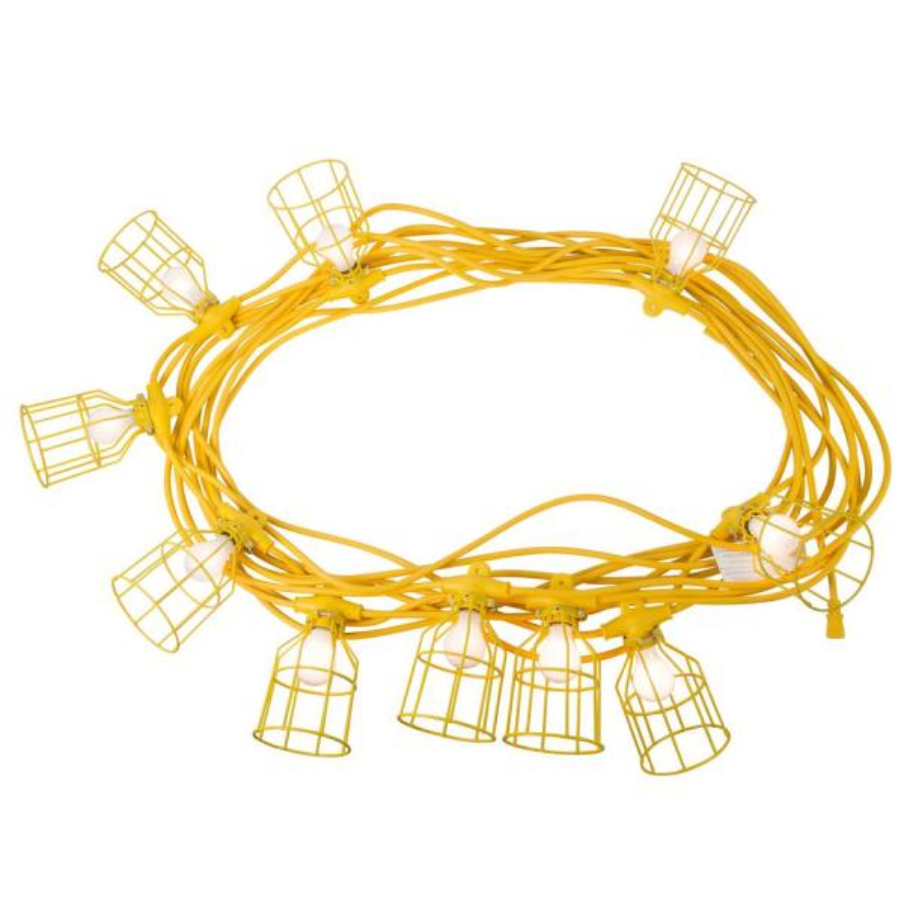 100 ft. 12/3 SJTW 10-Light Metal Guards Temporary Light Stringer, Yellow