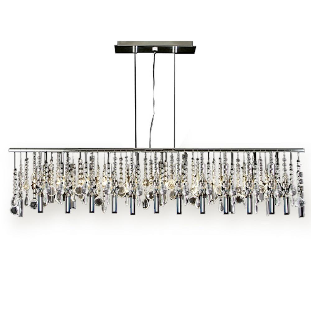Model t40 451 modern 11 light linear chrome chandelier