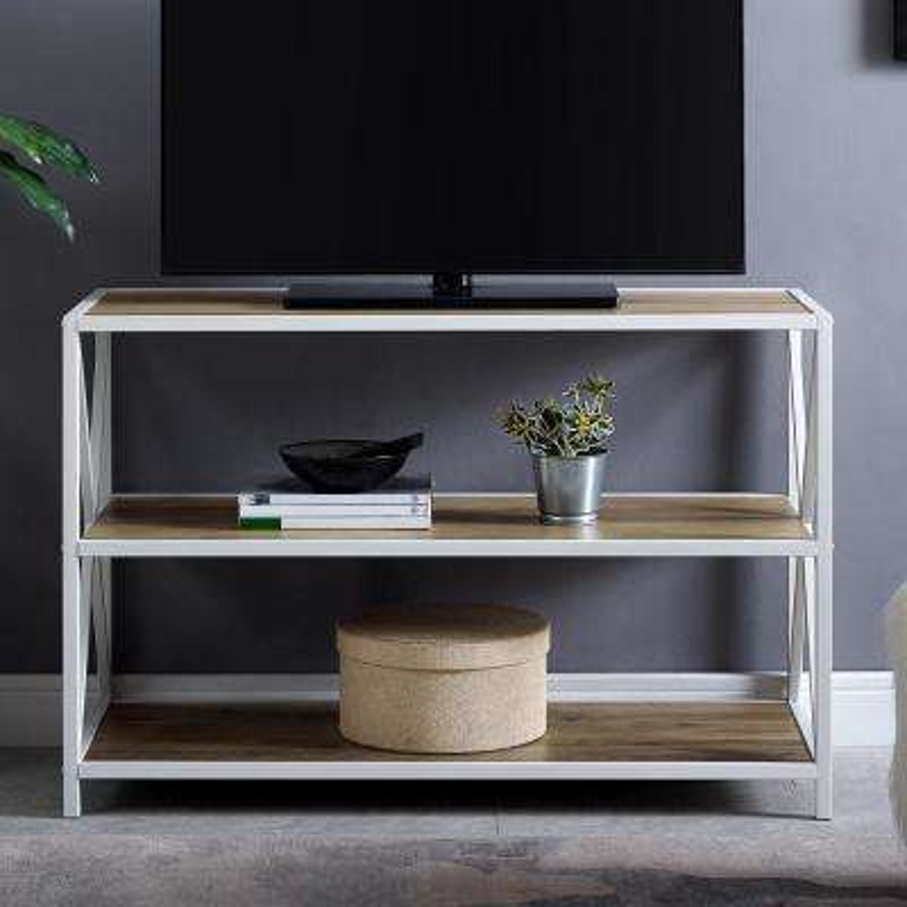 40 in. Rustic Oak, White Metal Industrial Wood Bookcase