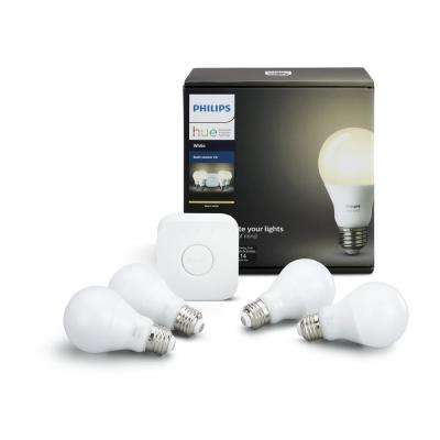 Hue 60W Equivalent White A19 Dimmable LED Starter Kit (4-Pack)