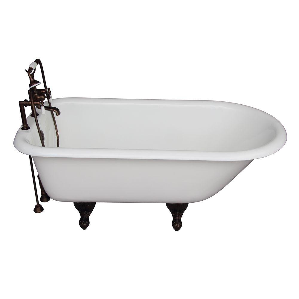 Cast Iron Roll Top Bathtub Kit In White With Oil Rubbed