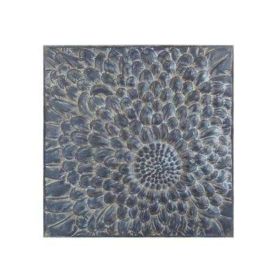 36.42 in. Square Blue Embossed Metal Wall Tile