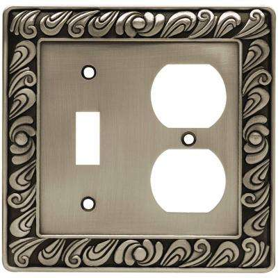 Paisley Decorative Switch and Duplex Outlet Cover, Brushed Satin Pewter