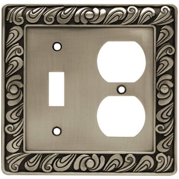 Pewter 2-Gang 1-Toggle/1-Duplex Wall Plate (1-Pack)