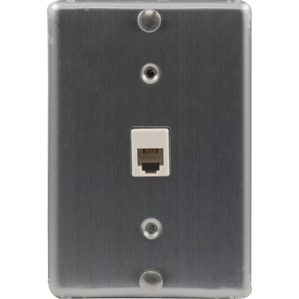 GE 1 Wall Phone Jack Mount Wall Plate, Stainless Steel
