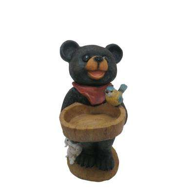 18 in. Polyresin Bear Statue with Decorative Birdfeeder