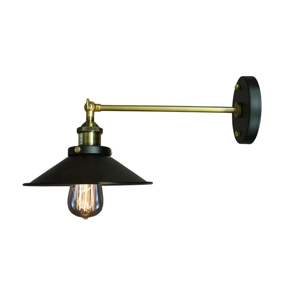 Edison Dorothy Collection 1-Light Black Indoor Wall Sconce