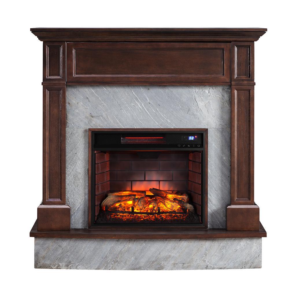 Marienne 48 in. Stone Media Infrared Electric Fireplace in Dark Espresso