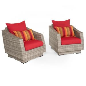 Cannes 2 Piece All Weather Wicker Patio Club Chair Seating Set With Sunsent Red