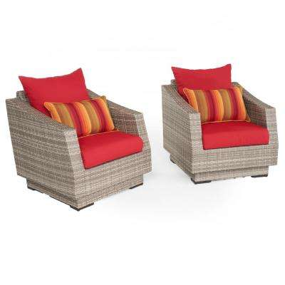Cannes 2-Piece All-Weather Wicker Patio Club Chair Seating Set with Sunsent Red Cushions
