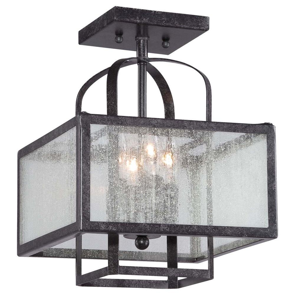 Camden Square 4-Light Aged Charcoal Semi-Flush Mount Light