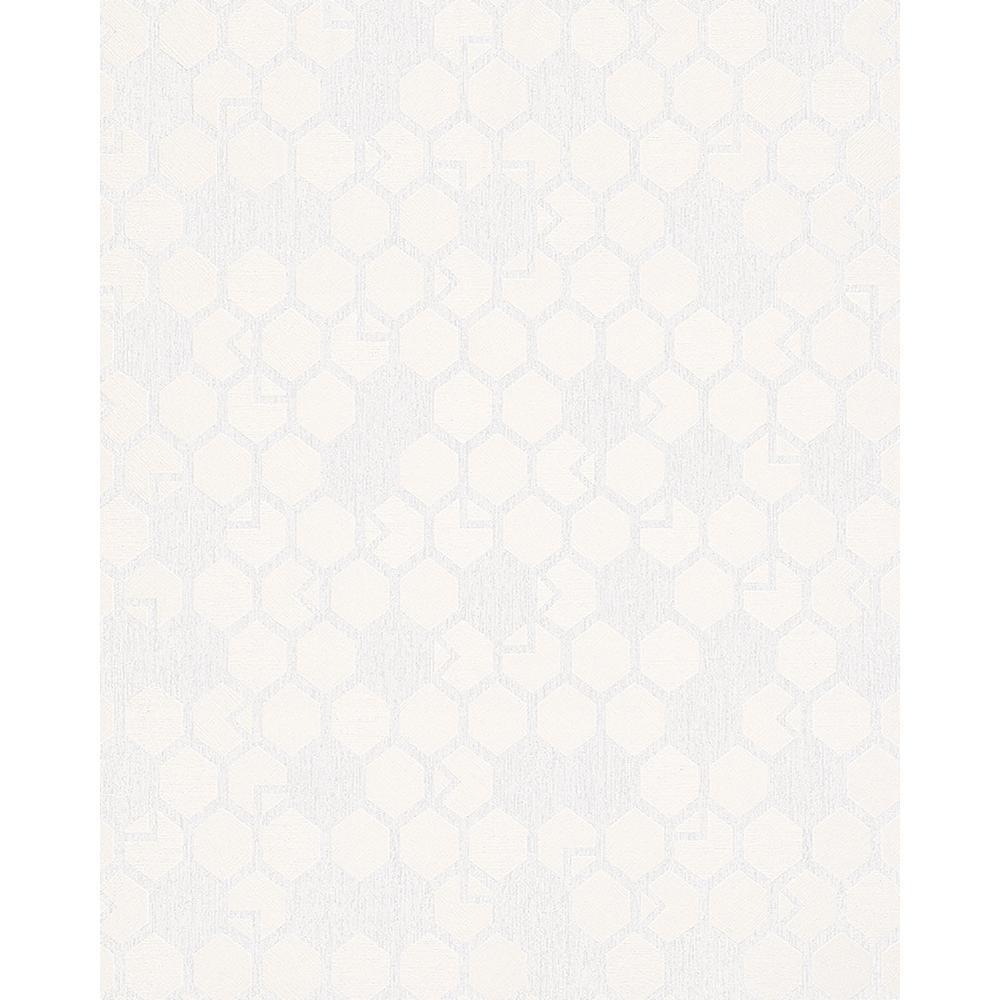 8 in. x 10 in. Natasha Cream Hexagon Wallpaper Sample