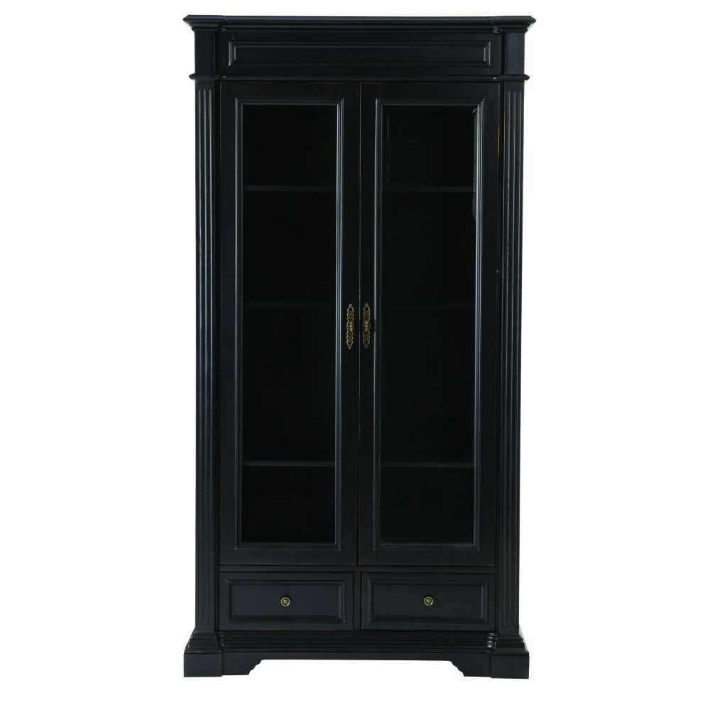 Home Decorators Collection Bufford Rubbed Black Glass Doo...