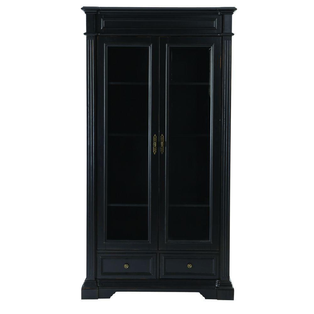 Bufford Rubbed Black Gl Door Bookcase