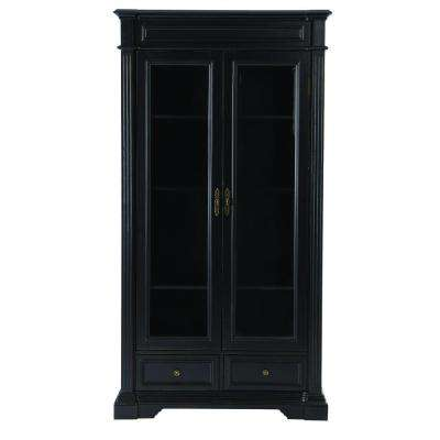 Bufford Rubbed Black Glass Door Bookcase