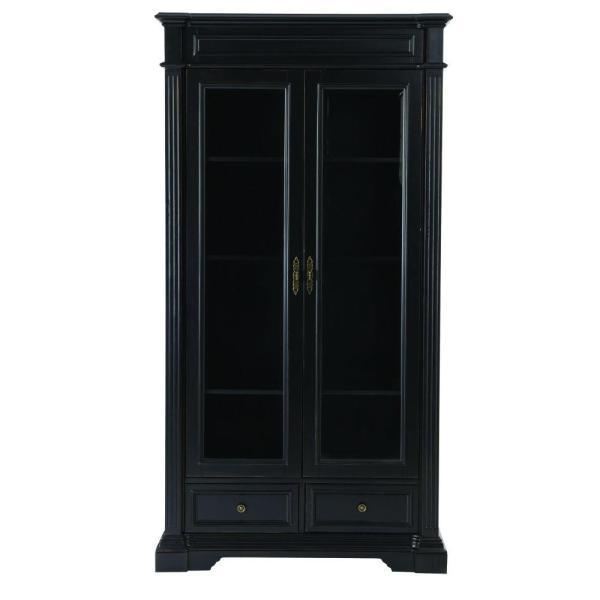 Home Decorators Collection Bufford Rubbed Black Glass Door Bookcase 9484500210