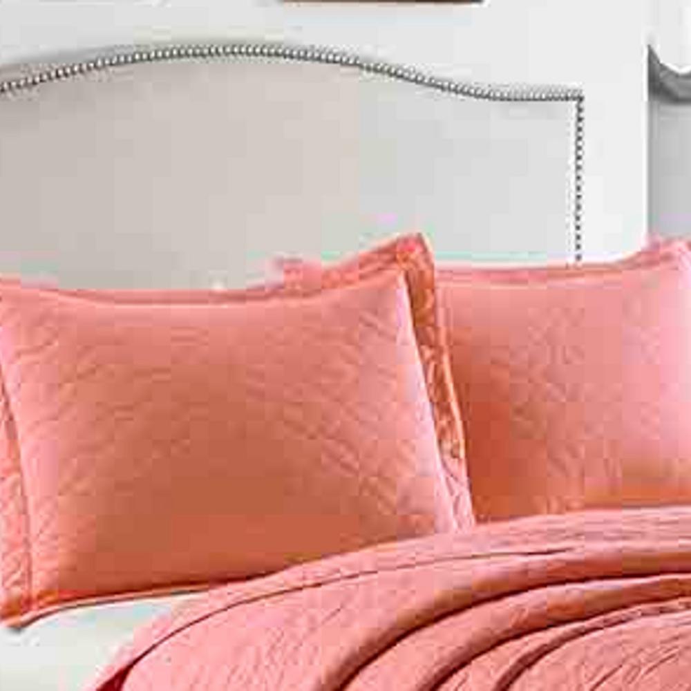Coral Solid Cotton Quilt Set