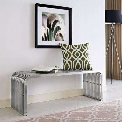 Pipe 47 in. Stainless Steel Bench in Silver