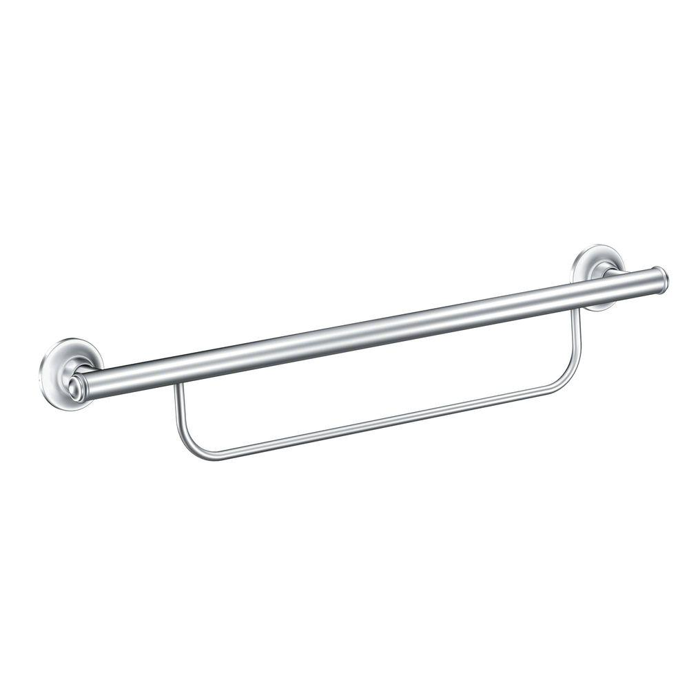 MOEN 24 in. x 1 in. Screw Grab Bar with Integrated Towel Bar in Chrome