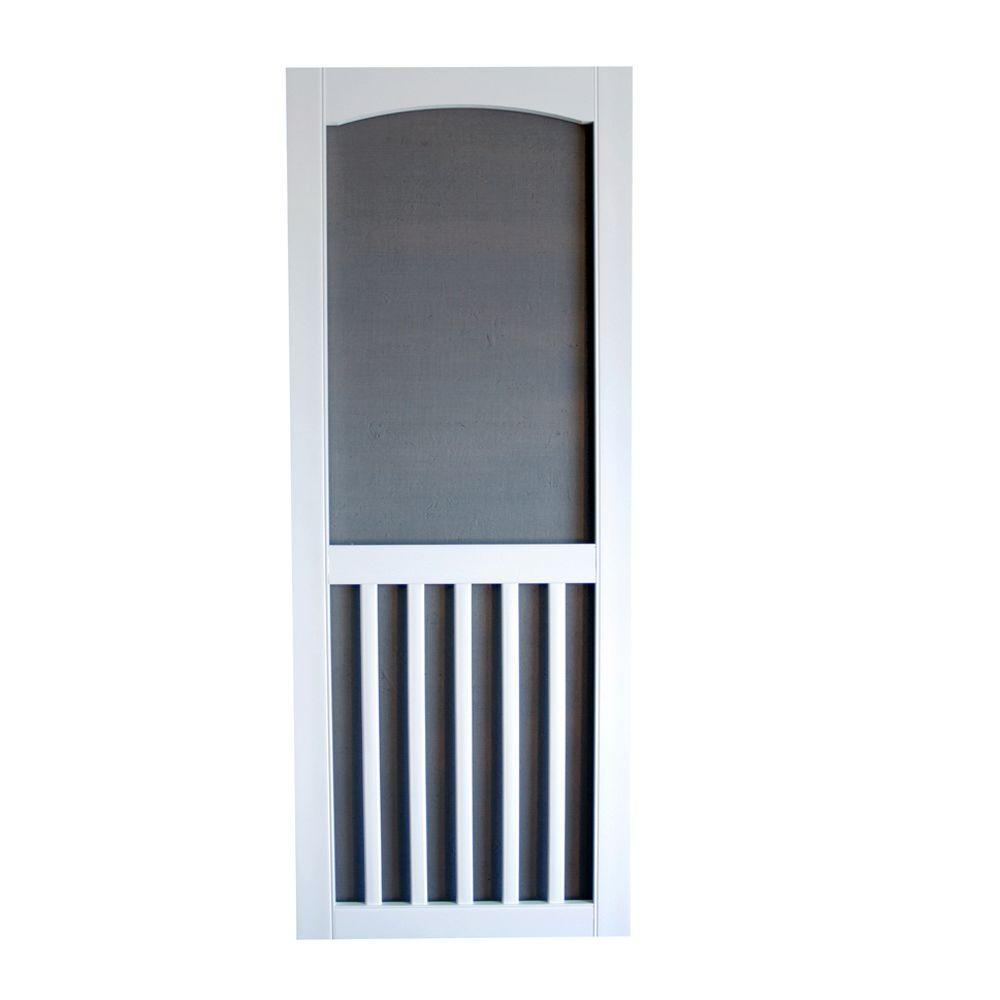 Brookgreen Solid Vinyl White Screen Door