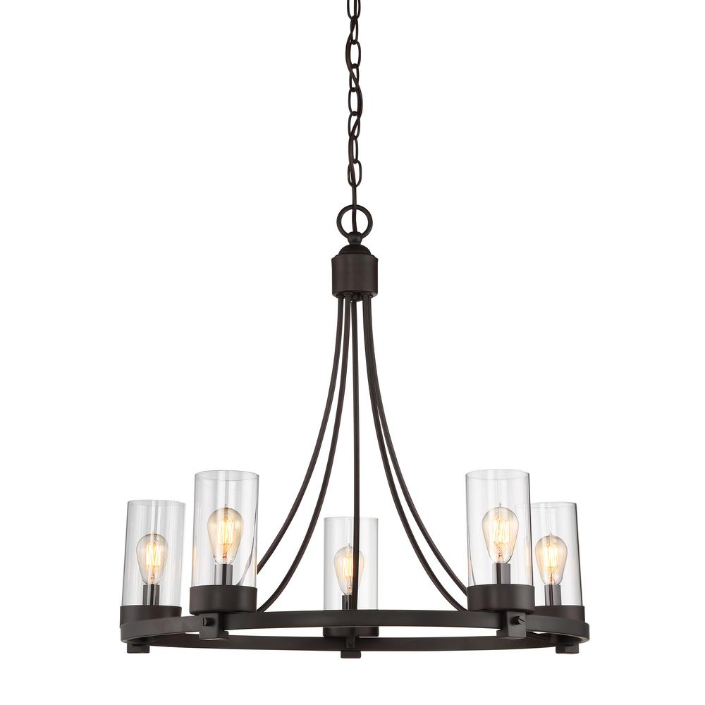 Filament design 5 light oil rubbed bronze chandelier with clear filament design 5 light oil rubbed bronze chandelier with clear glass shade aloadofball Choice Image