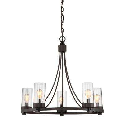 5-Light Oil Rubbed Bronze Chandelier with Clear Glass Shade