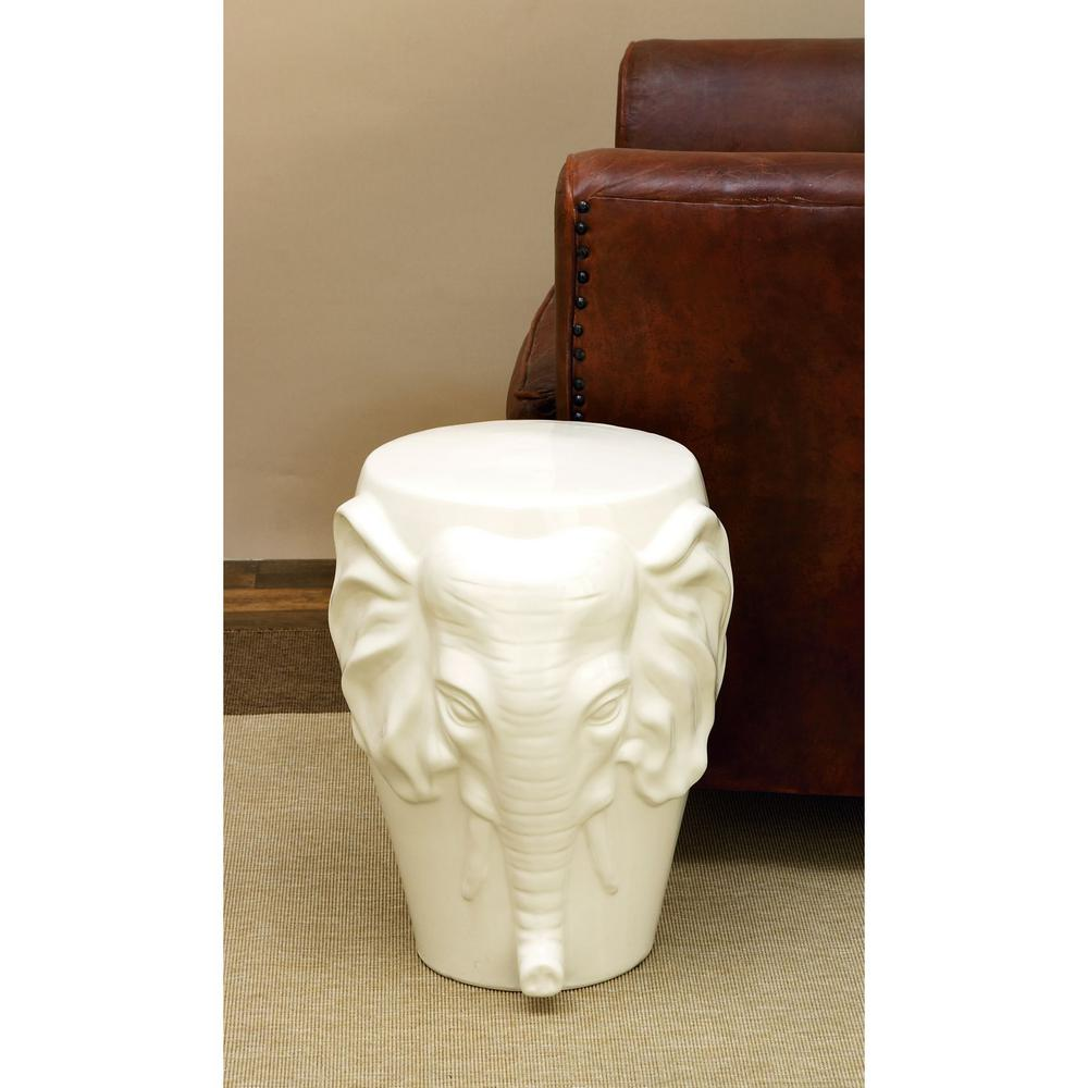 Litton Lane Ceramic Elephant 18 in. Stool-38878 - The Home Depot