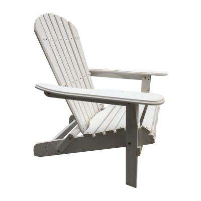 Villaret White Folding Wood Adirondack Chair