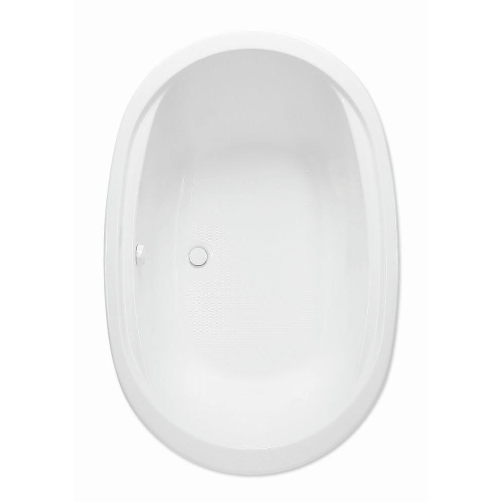 Aquatic Velencia 1.5 - 5.5 ft. Acrylic Center Drain Oval Drop-in Soaking Bathtub in White
