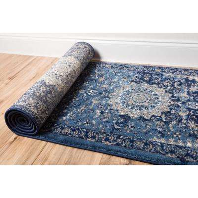 Luxbury Mahal Blue 2 ft. x 8 ft. Traditional Runner Rug