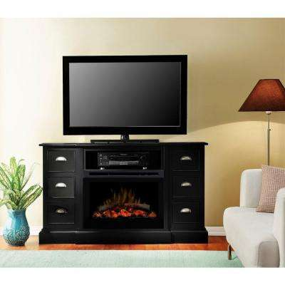 Gibbons 55 in. Media Console Electric Fireplace in Black