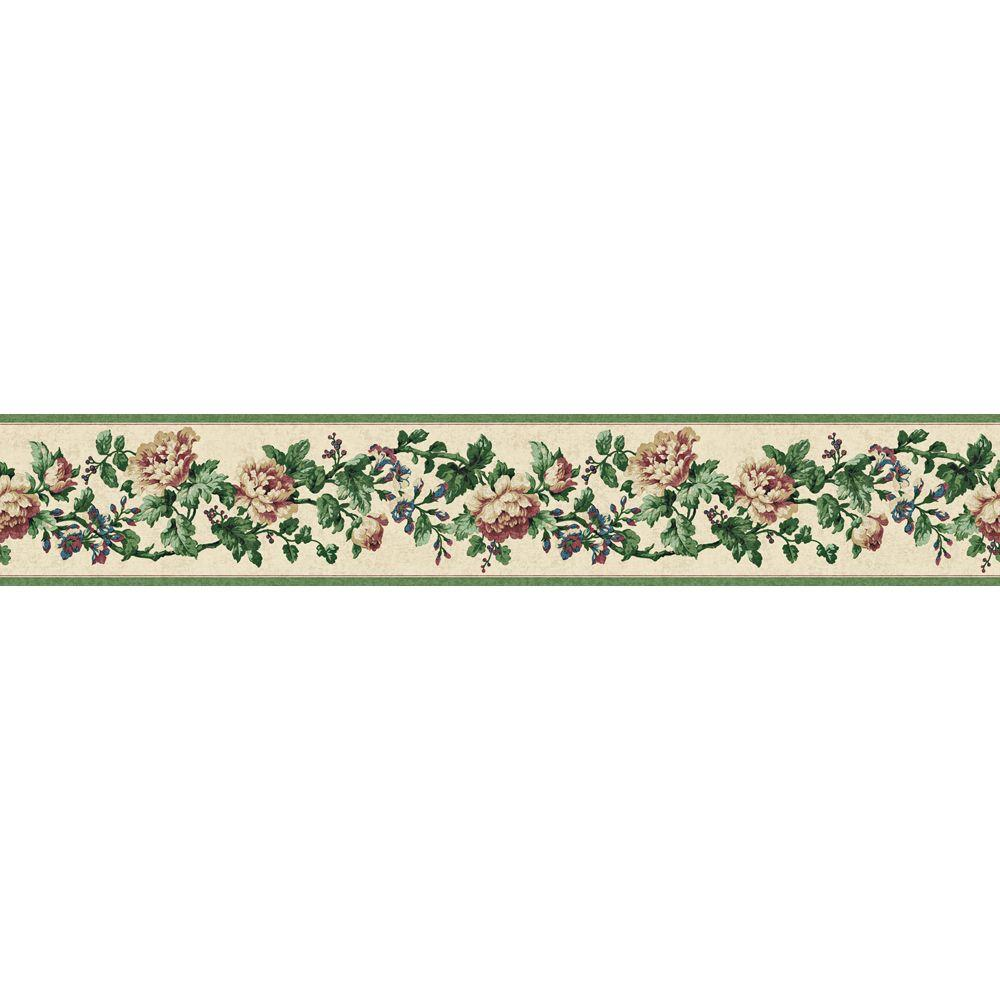The Wallpaper Company 4.125 in. x 15 ft. Green Jewel Tone Floral Document Border