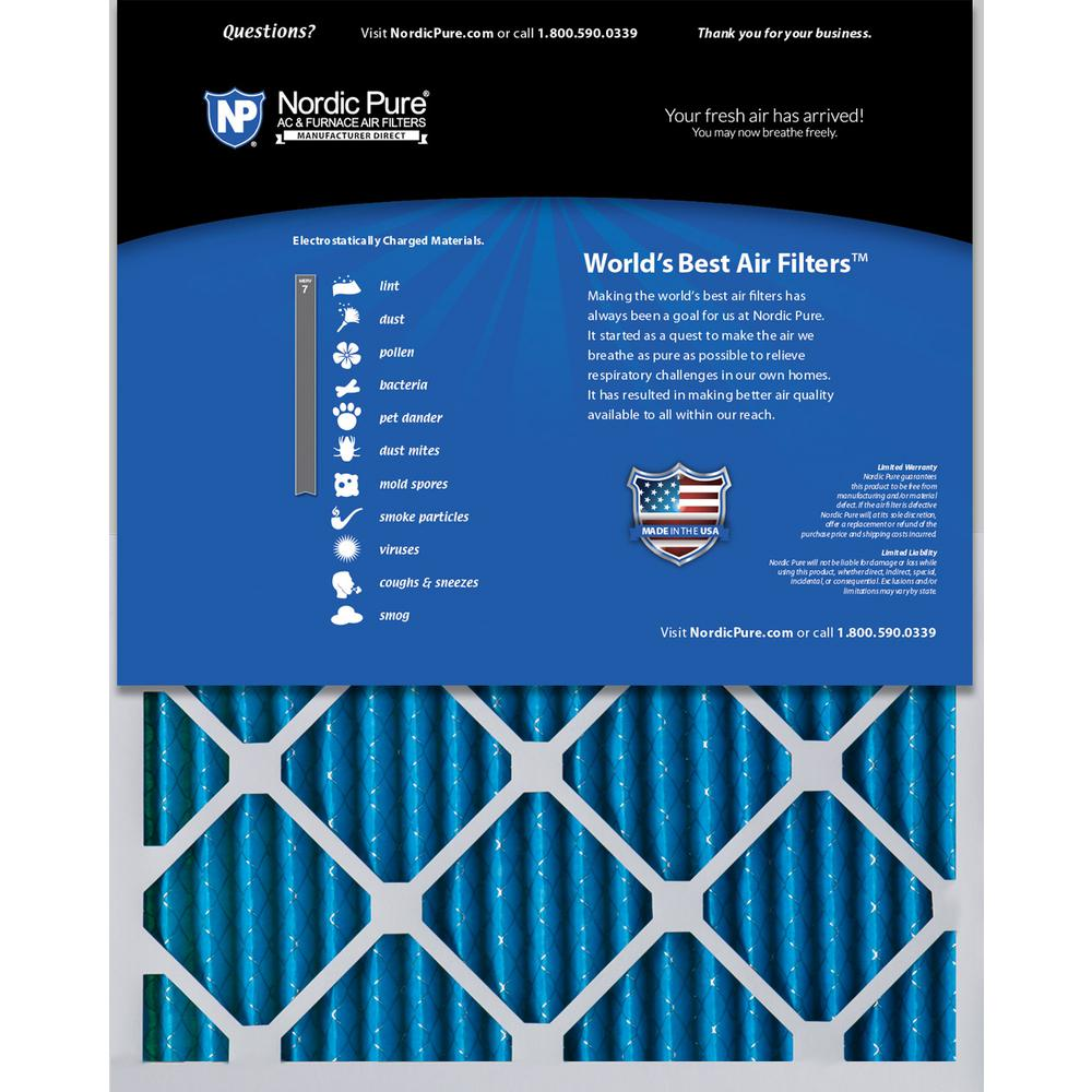 Nordic Pure 19/_3//4x22x1 Exact MERV 11 Pleated AC Furnace Air Filters 1 Pack