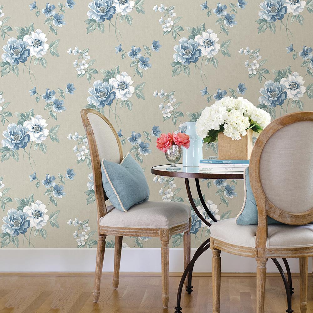 Keighley Light Blue Fl Wallpaper Sample