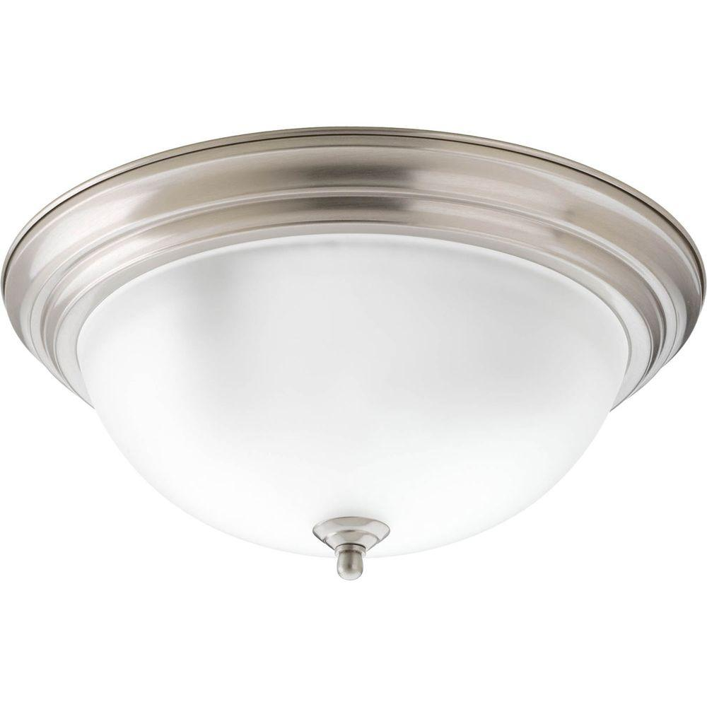 Progress Lighting 3-Light Brushed Nickel Flushmount with Alabaster Glass