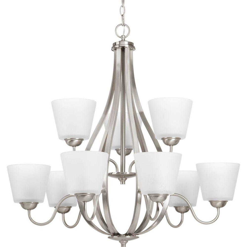 Arden Collection 9-Light Brushed Nickel Chandelier with Shade with Etched Glass