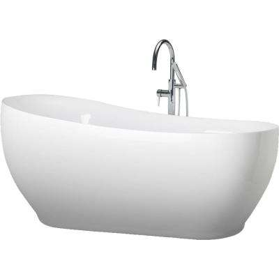 Liberty 71 in. Acrylic Freestanding Flatbottom Non-Whirlpool Bathtub in White All-in-One Kit